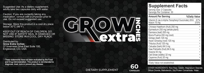 Grow Extra Inches ingredients