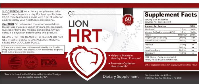 Lion HRT Ingredients